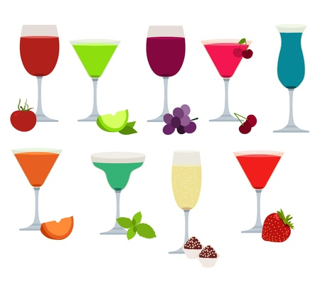 Set of different party drinks Stock Illustratie
