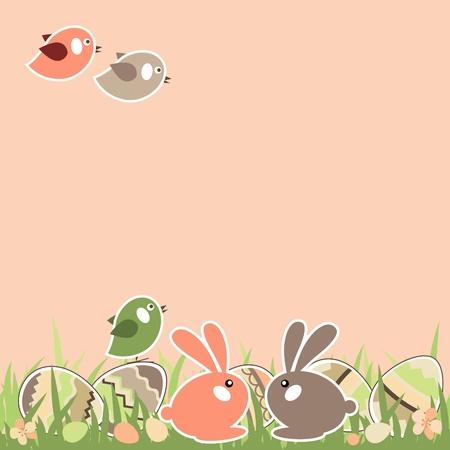 cartoon easter: Easter landscape