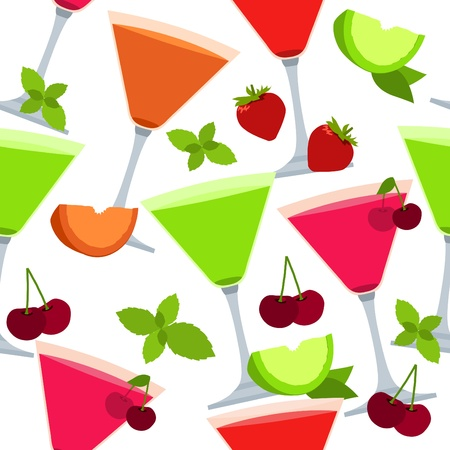 fruit of the spirit: Seamless pattern with different cocktails