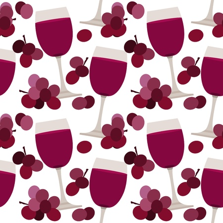 red grape: Seamless pattern with wine glasses