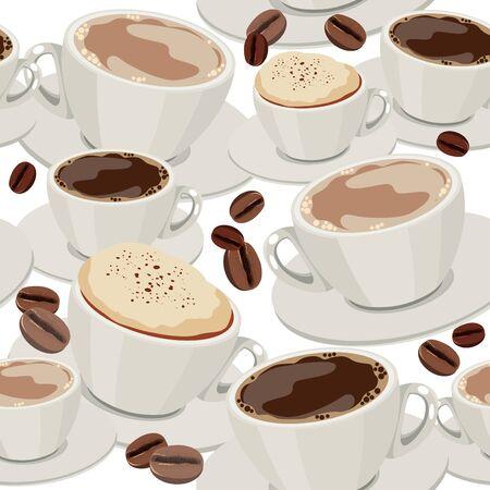 hot plate: Patr�n transparente con tazas de caf� Vectores