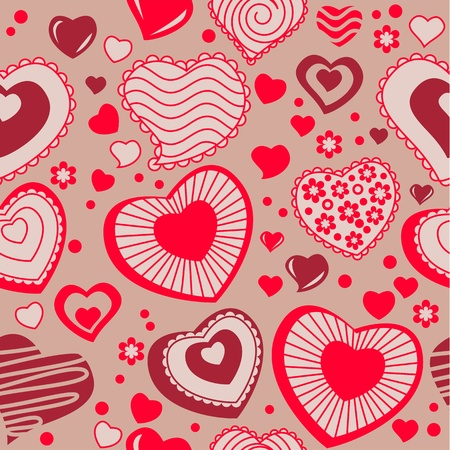 Seamless pattern with red contour hearts Vector