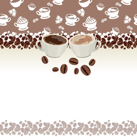 Greeting card with cups of coffee Illustration