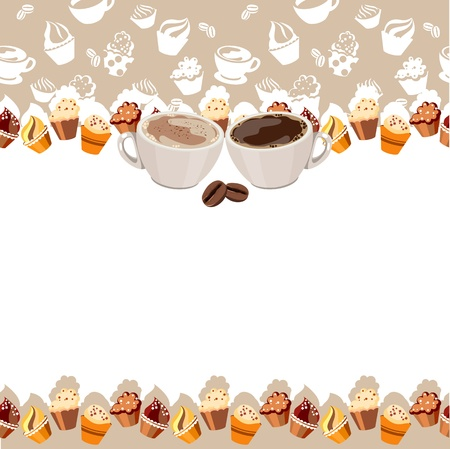 Greeting card with cups of coffee Stock Vector - 9613334