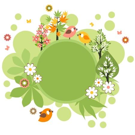 arboles de caricatura: Marco ronda con p�jaros y flores Vectores