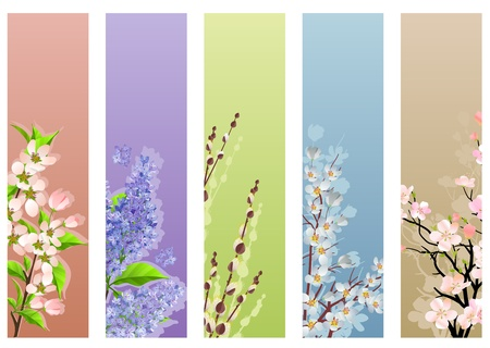 vertical garden: Collection of floral banners