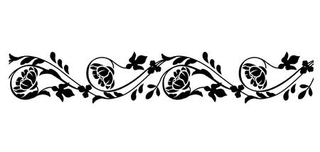 flower borders: Seamless horizontal border Illustration