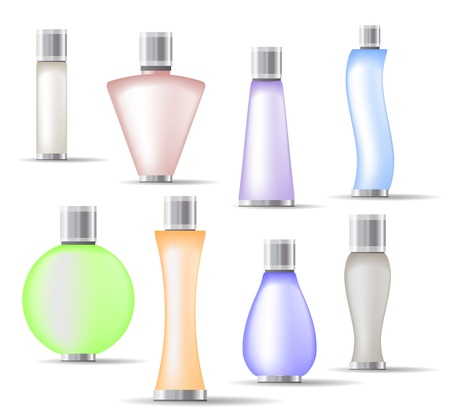 fog: Set of fragrance bottles isolated