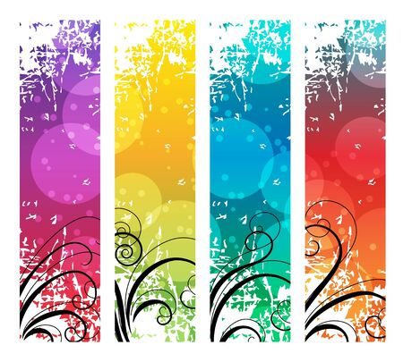 vertical banner: Four abstract vertical banners