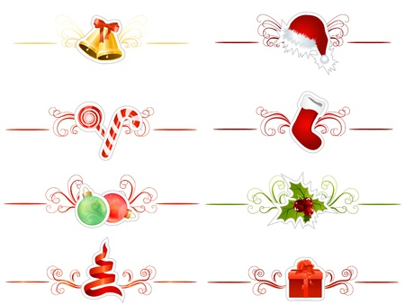 x mas: Set of differentChristmas elements Illustration