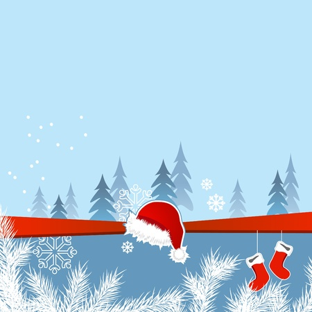 Christmas greeting card with santa cap and socks  Vector