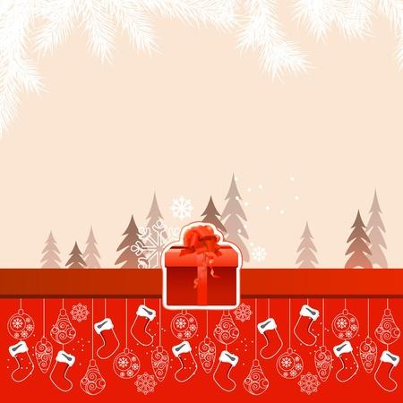 Beautiful Christmas card with hanging santa socks  Vector