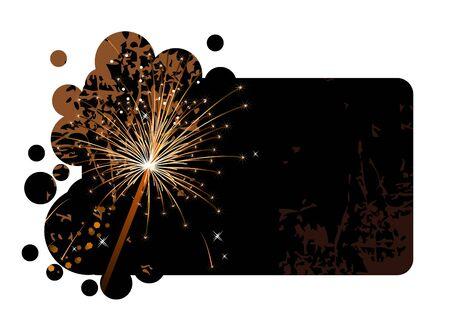 sparkler: Black banner with realistic firecracker