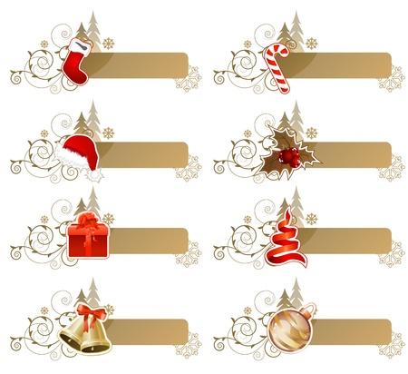 etiquetas de ropa: Conjunto de diferentes banners de Navidad