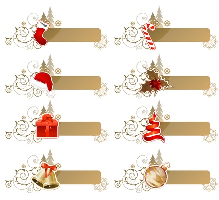 christmas x mas: Set of different Christmas banners