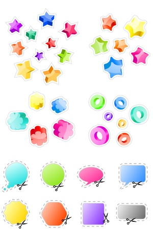 Set of 3d shapes and stickers  Vector