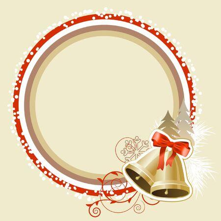 campanas navidad: Marco pastel de Navidad con campanas de oro