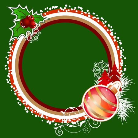 Green frame with Christmas decorations  Vector
