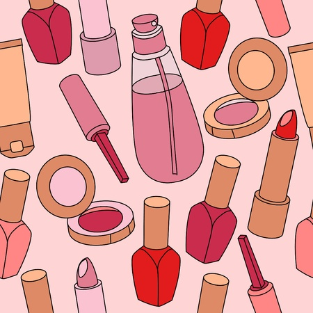 Seamless pattern with various cosmetics Stock Vector - 10448691