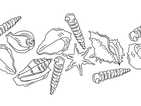 coast line: Seamless ocean border with different shells Illustration