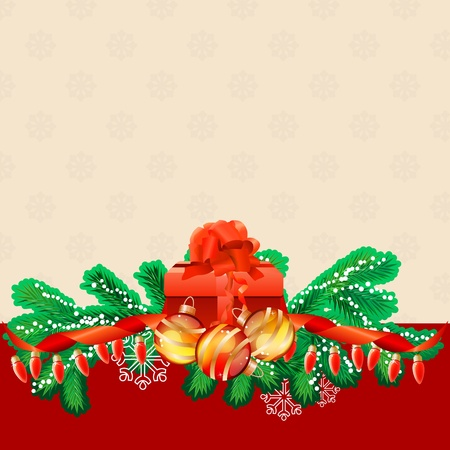 Christmas greeting card with gift box Vector