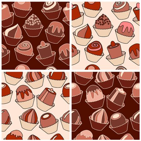 Seamless pattern with different chocolate sweets. Vector