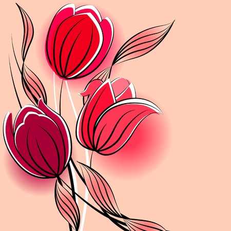 Pastel background with stylized tulips  Vector