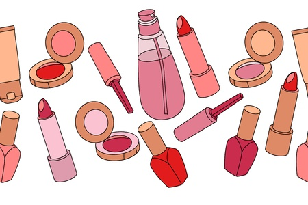 Various cosmetics in seamless horizontal border  Vector