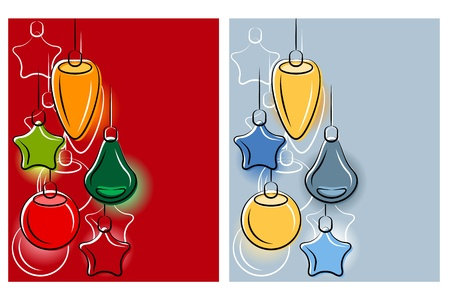 variant: Background with stylized hanging Christmas balls.