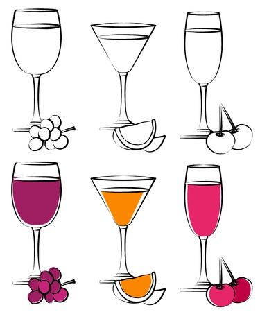 Set of simple cocktail glasses Vector