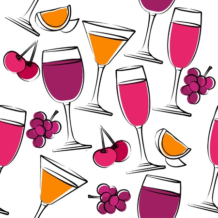 Seamless pattern with wine Vector