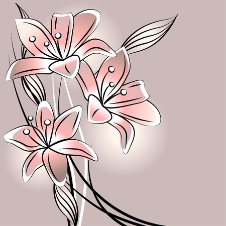 clip art draw: Pastel background with stylized lilies