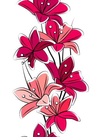 flower clip art: Seamless vertical border with tulips