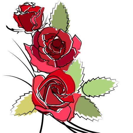 clip art draw: Stylized simple roses