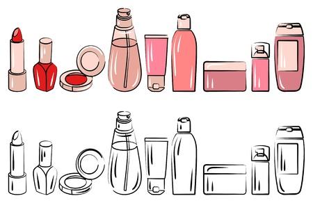 Conjunto con diversos cosméticos Ilustración de vector