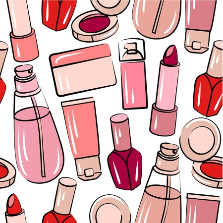 Seamless pattern with various cosmetics  Illustration