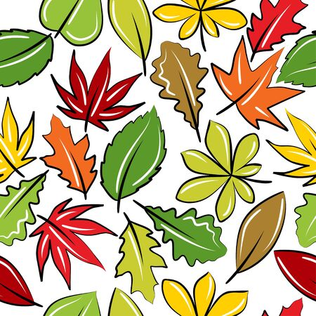 oak leaves: Seamless background with autumn leaves  Illustration