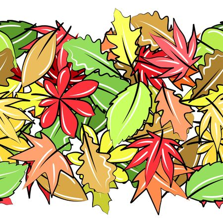 Seamless border with autumn leaves Vector