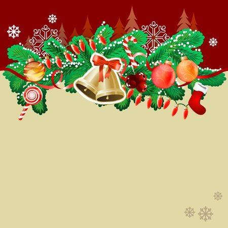 Christmas greeting card with gold bells Vector