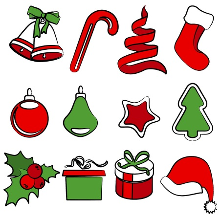 x mas: Set of simple Christmas icons Illustration
