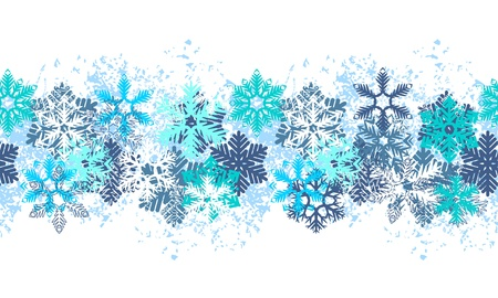 Borde azul transparente con copos de nieve