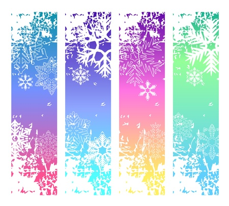 Four abstract vertical winter banners Vector