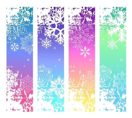 Cuatro banderas de invierno vertical abstracto