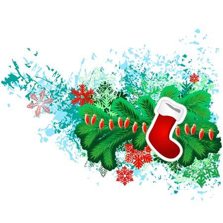 Hanging Santa sock with Christmas decorations Vector