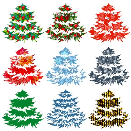 Collection of different Christmas trees Vector