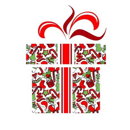 white socks: Gift box made of Christmas symbols