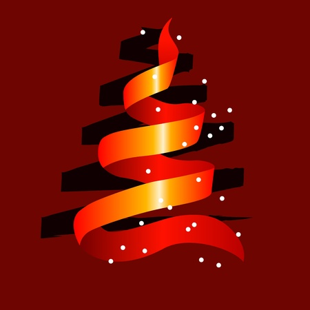 Stylized christmas tree made of red ribbon Stock Vector - 10543762