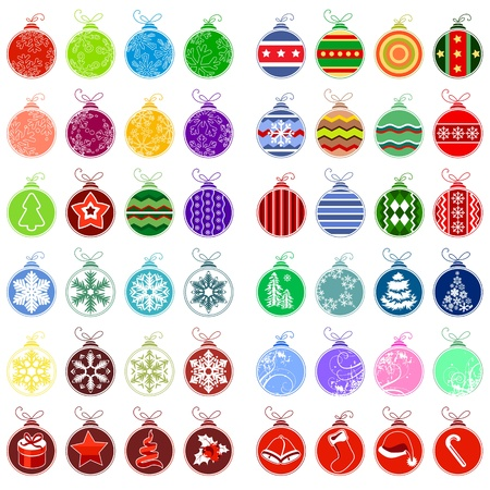 Big collection of different christmas balls Vector