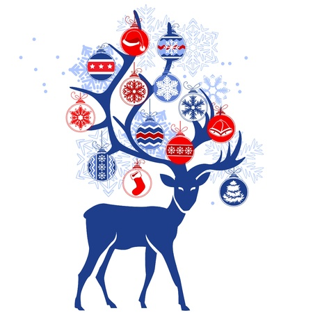 Stylized deer with Christmas balls Vector