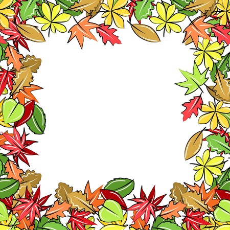 hand drawn frame: Frame made of autumn leaves